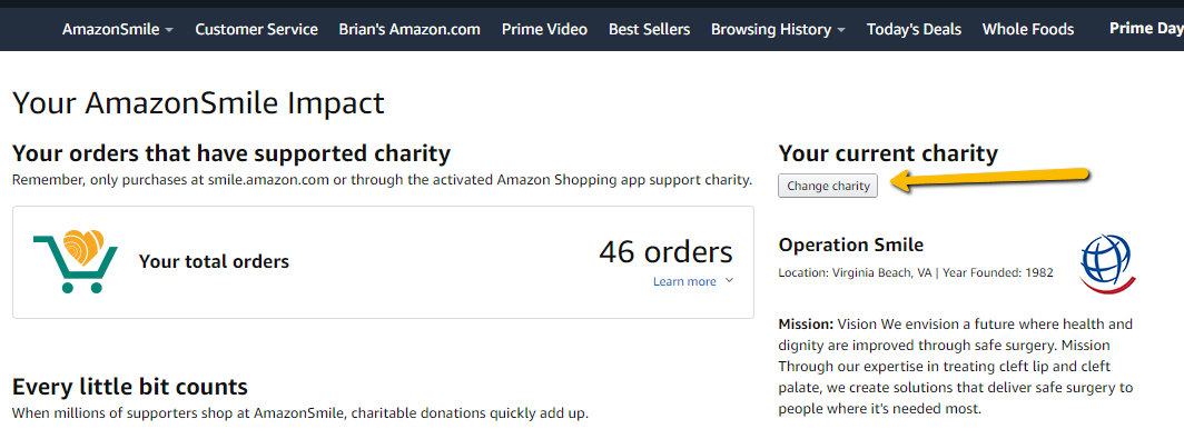 how to pick a charitable organization on amazonsmile