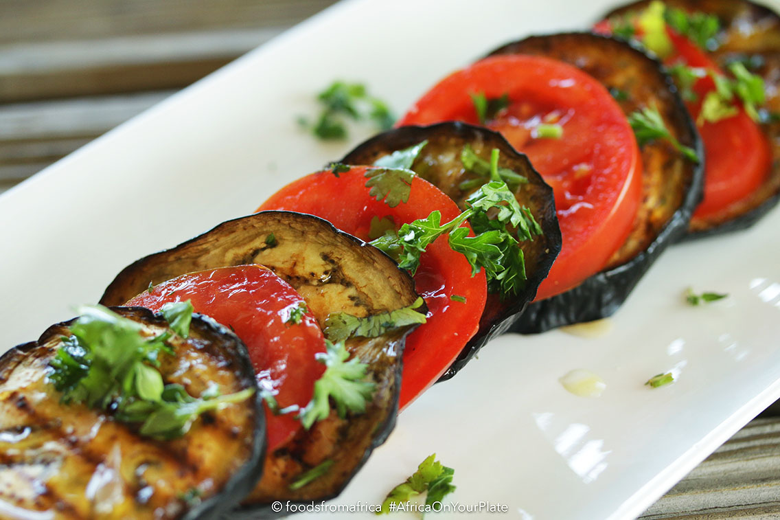 tomato and aubergine (eggplant) salad