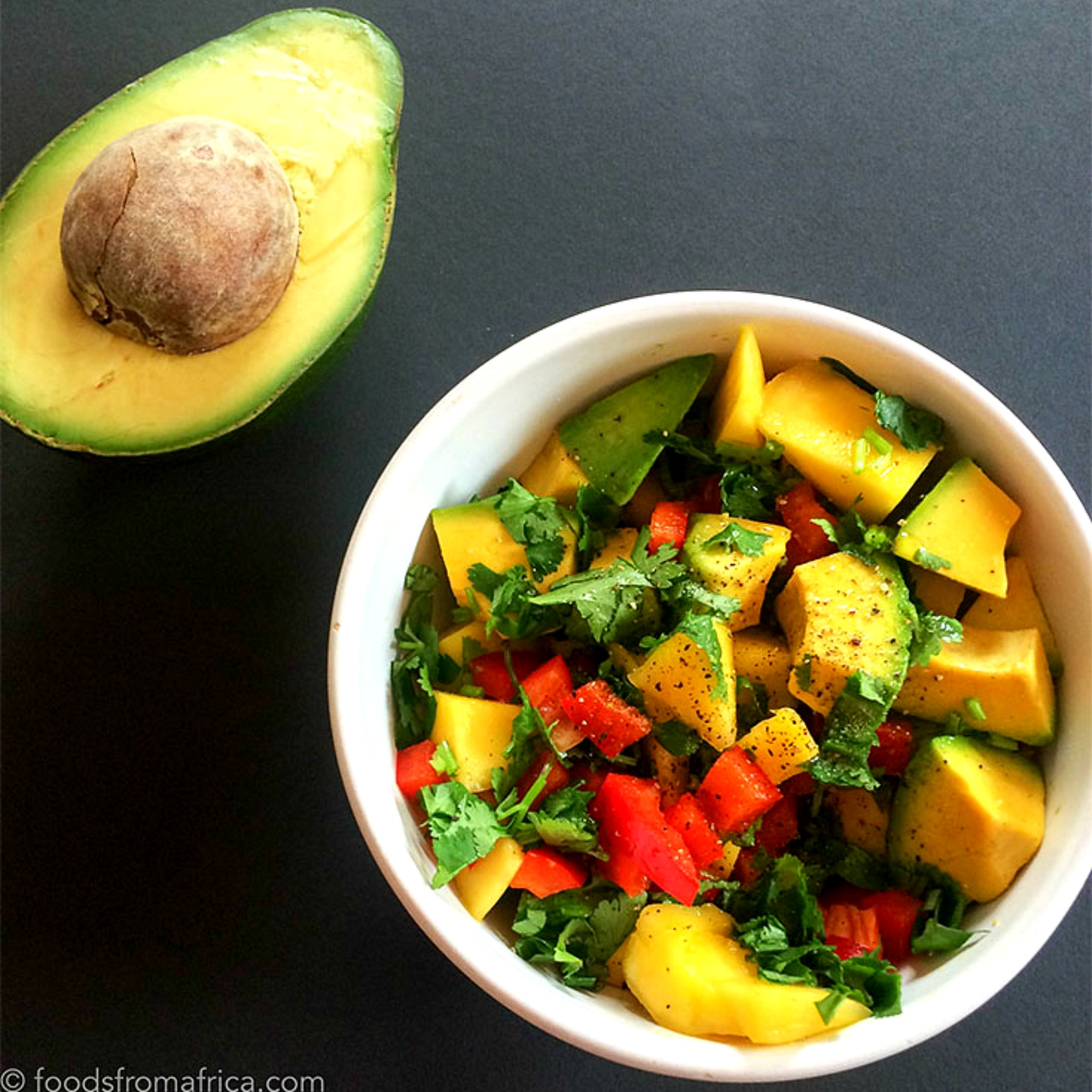 This African-style Mango Avocado Salsa is the perfect vegetarian side dish and promises a burst of sense-awakening tropical flavours, and a mix of exotic textures.