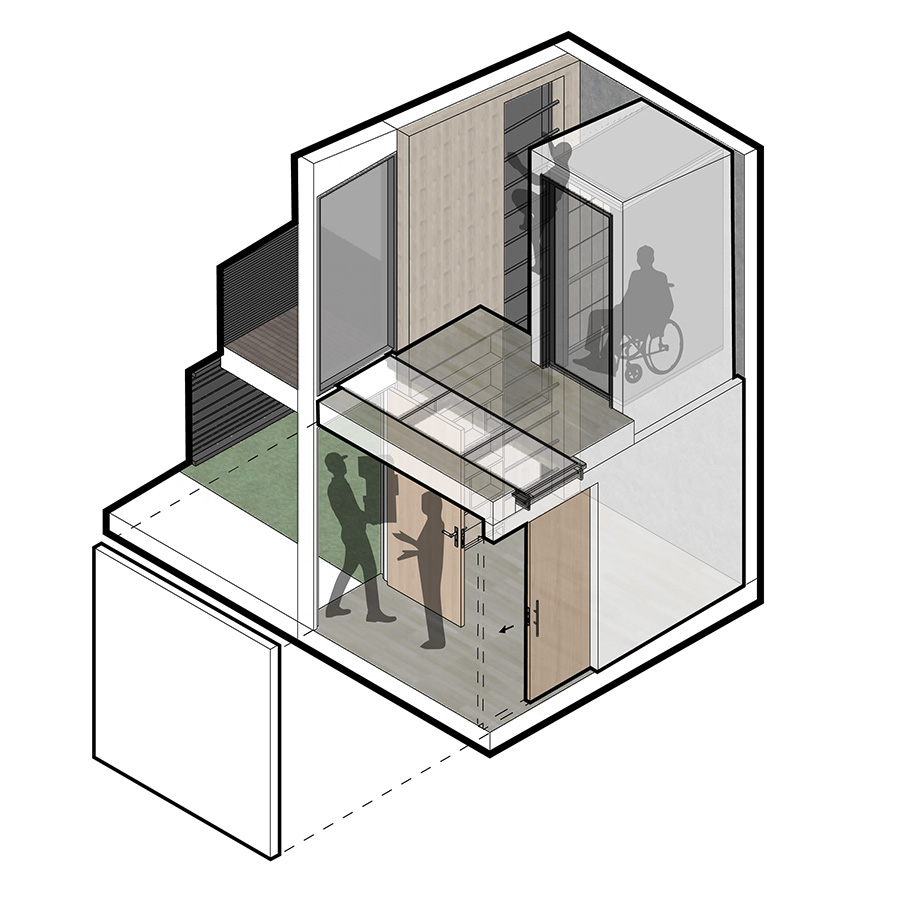 A reception foyer for deliveries is capable of being fully enclosed to contain the area of contact. This is done through the use of a sliding door and retractable enclosure at the ladder area. The residential lift and ladder integrated into the vertical glazing provide vertical circulation while louvers provide privacy.
