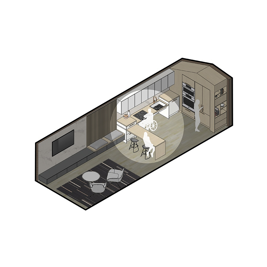 KITCHEN: SWIVEL ISLAND IN OPEN POSITION