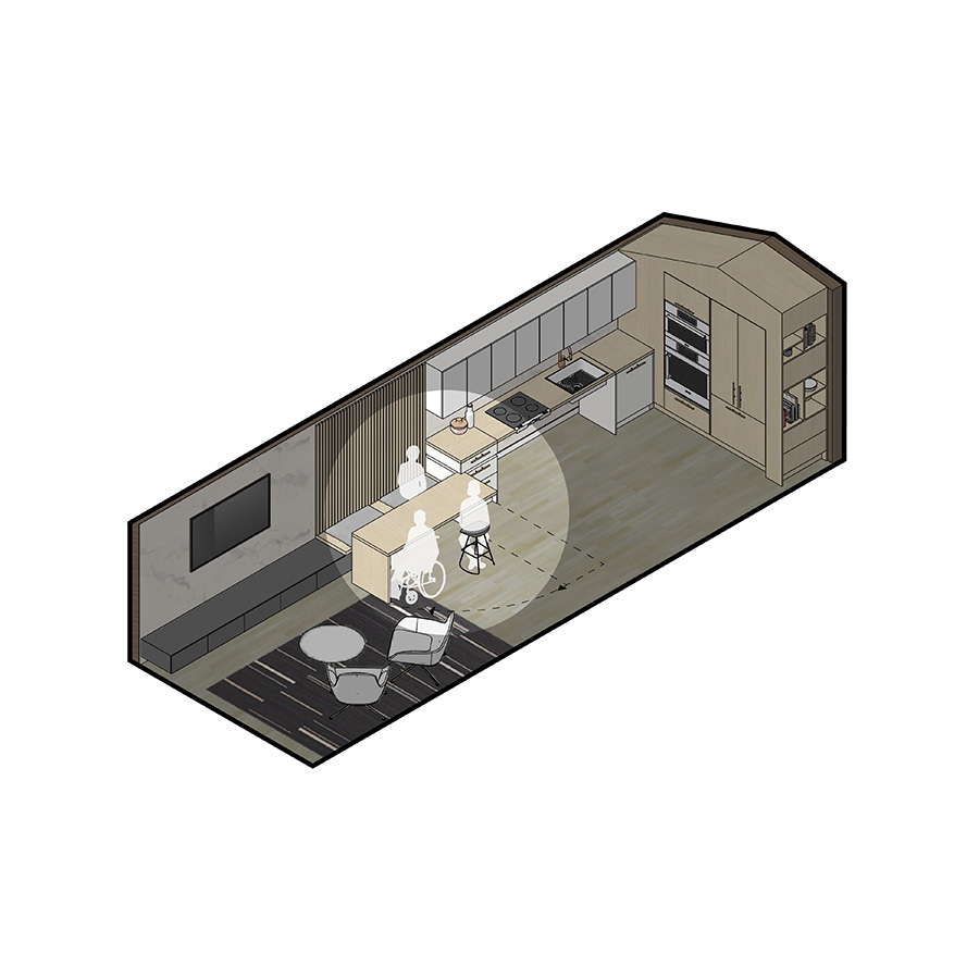 KITCHEN: SWIVEL ISLAND AS DINING TABLE