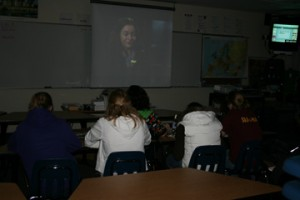 French Club member watch the movie Chocolat as an after school activity.  Photo By: Kayla Hemze