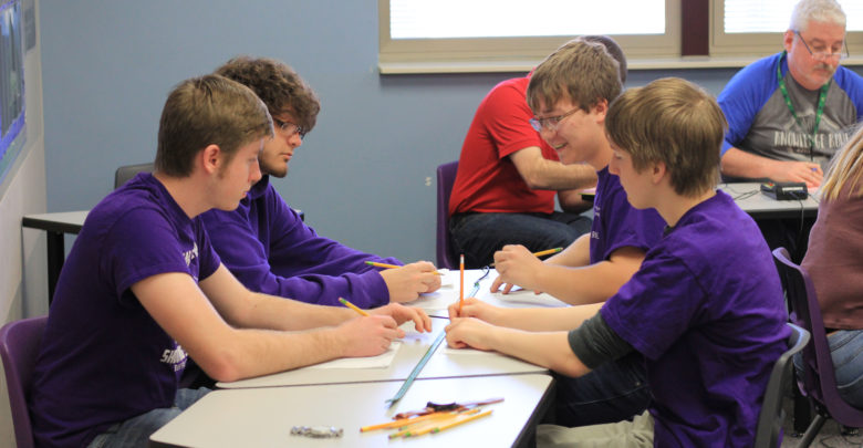 Knowledge Bowl team practices after school.