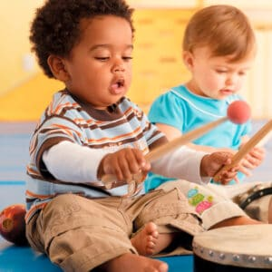 Toddlers playing instruments