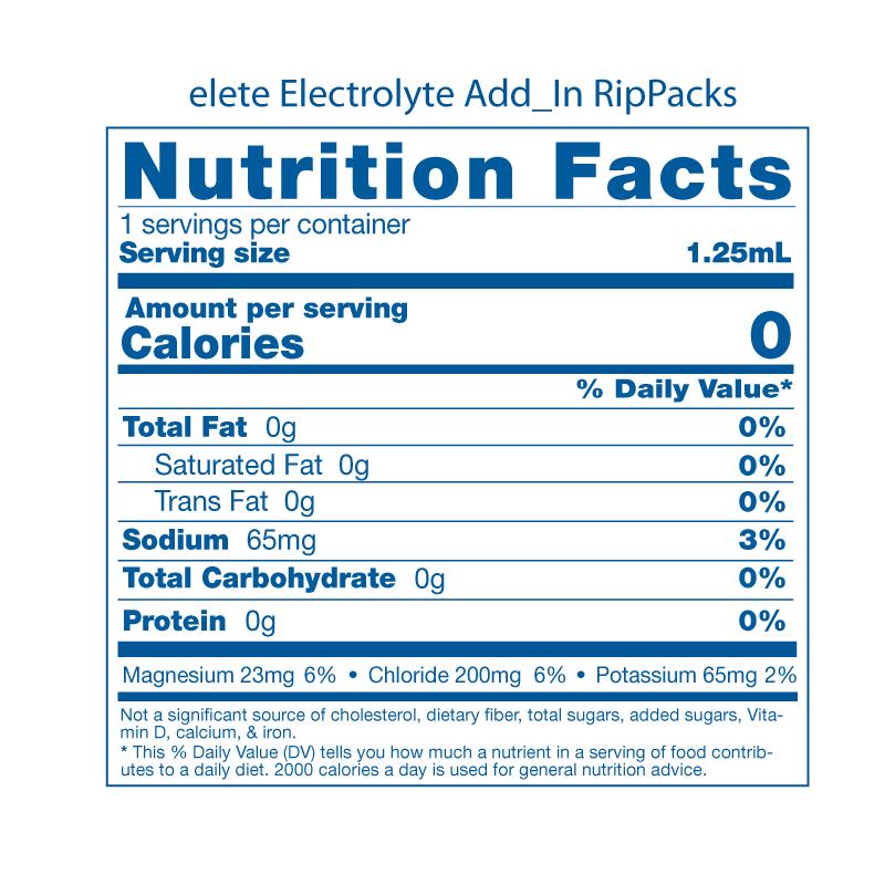elete RipPacks Nutrition Facts Panel 100 1.25mL