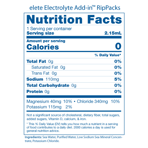elete RipPacks Nutrition Facts Panels