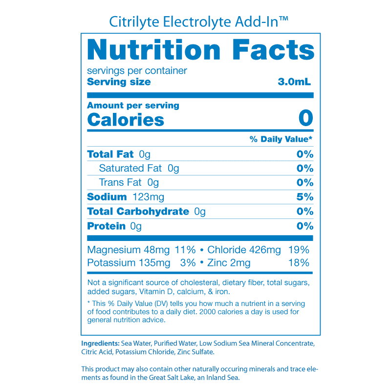 Citrilyte Nutrition Facts Panel 2019