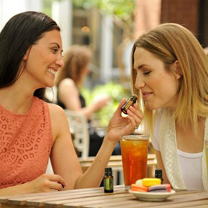 women enjoying oils
