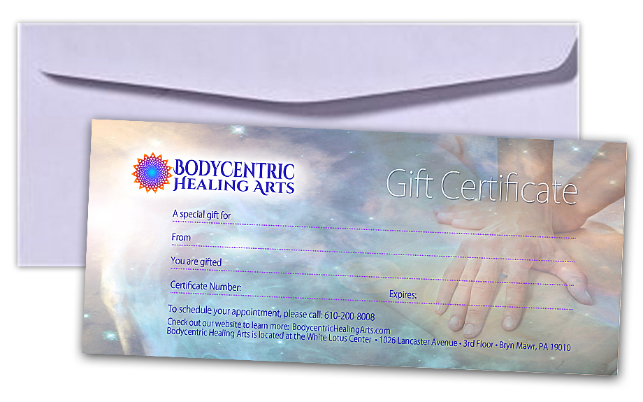 Gift certificate by Bodycentric Healing Arts