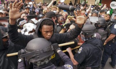 Cop shot during protest after officials announce few charges in case; FBI SWAT team at scene