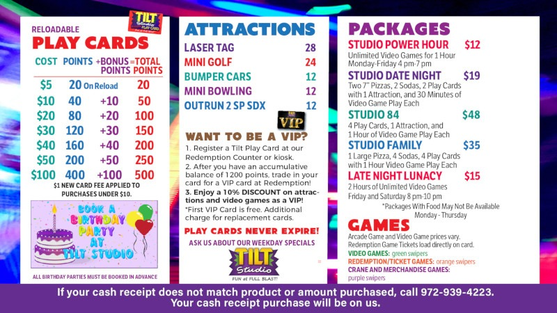 Tilt Studio Altoona price menu