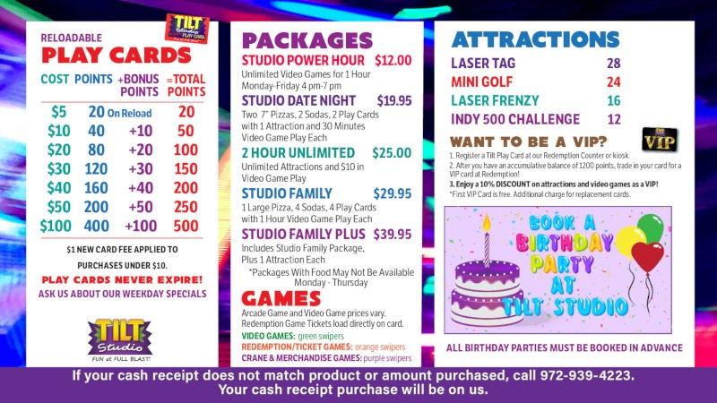 Tilt Studio Gurnee price menu