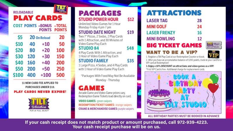 Tilt Studio Joplin price menu