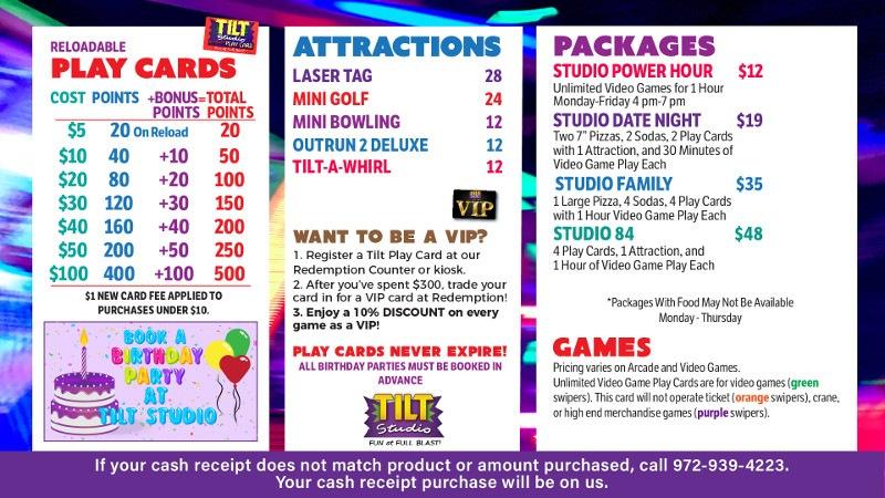 Tilt Studio Katy Mills Price Menu