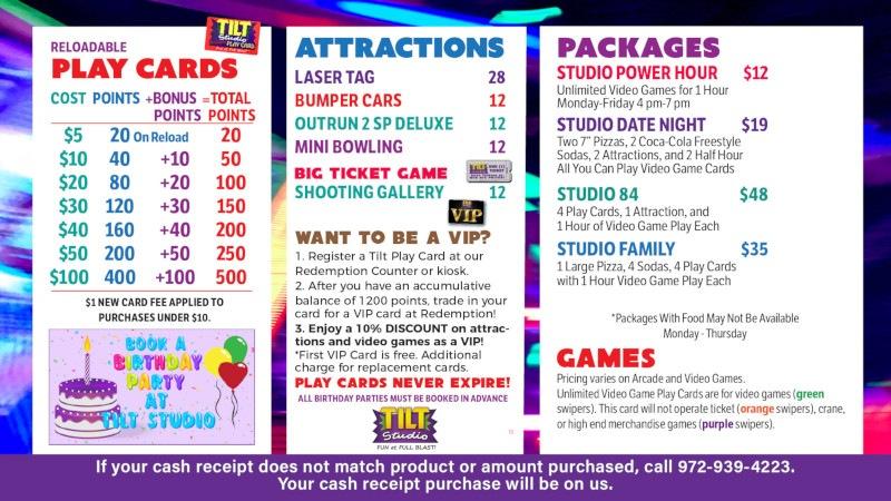 Tilt Studio Newport News price menu
