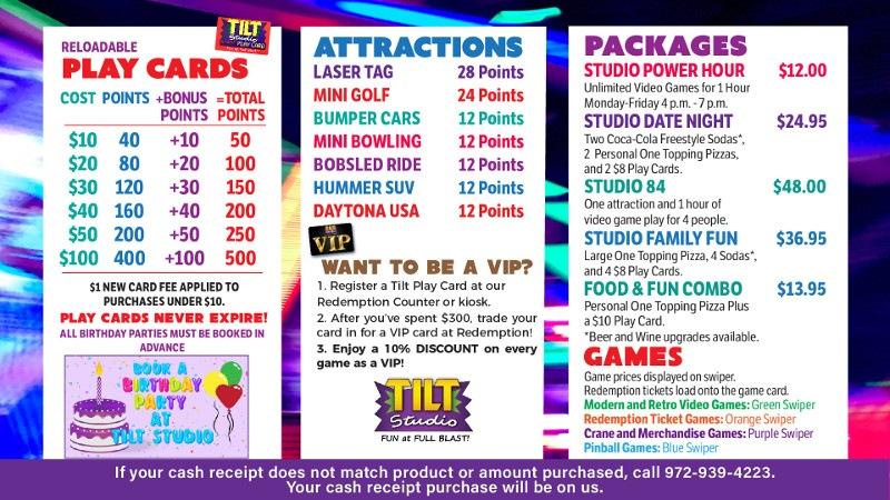Tilt Studio Valley Mall Price Menu