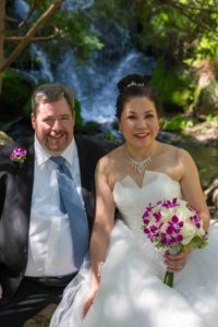 Bride and Groom at Waterfall