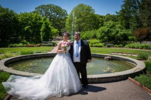 Bride and Groom at Fountain