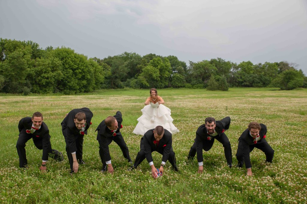 Bride playing quarterback