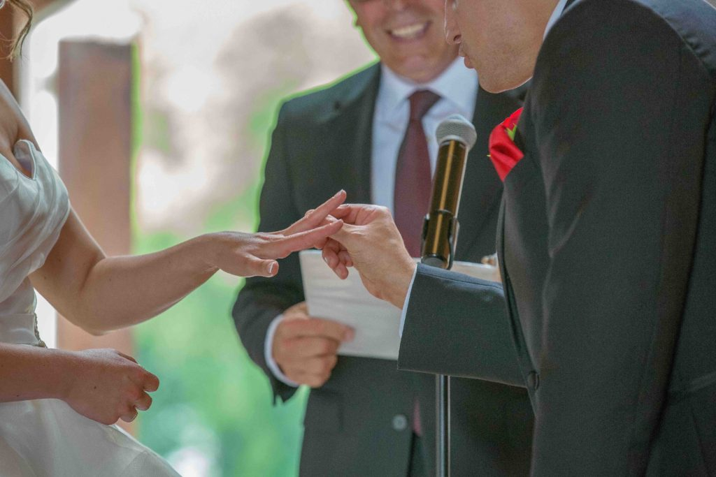 Putting a ring on bride's finger