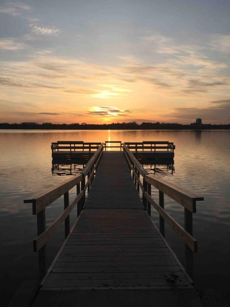 Dock at sunset at Lake Calhoun