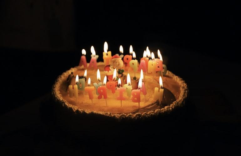 Birthday Cake with Brighten Candles
