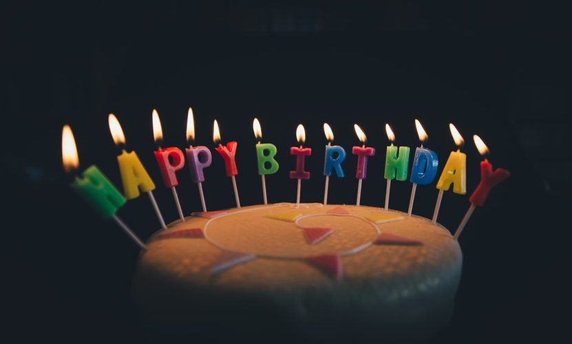 Cake with Happy Birthday Candles