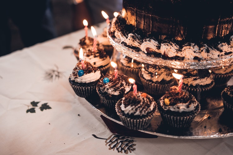 Chocolate Birthday Cake with Cup Cakes