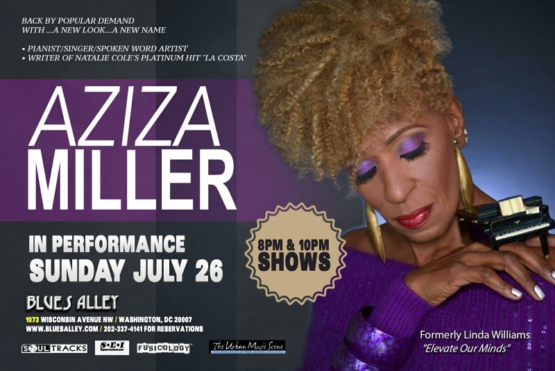 Aziza Miller LIVE blues alley flyer - July 26th, 2015