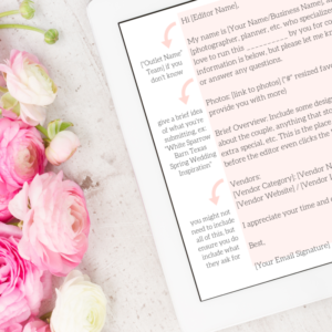 Published + Pretty, Wedding Submission Email Template, Wedding Submission Process, Wedding PR FREEBIE