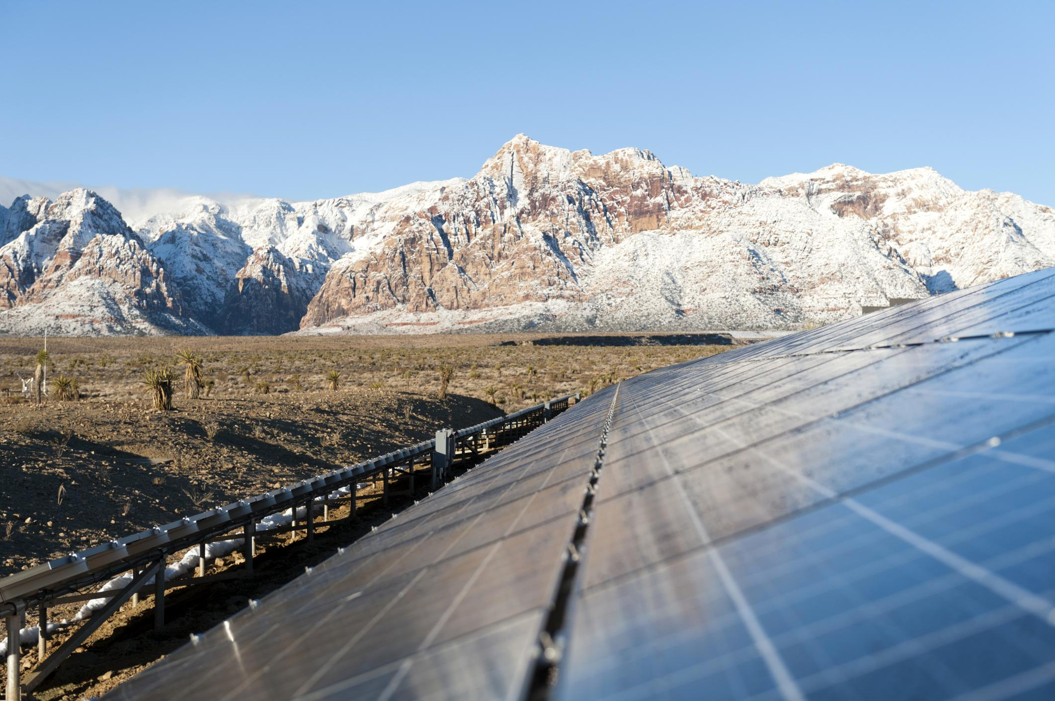 solar panels and mountain background