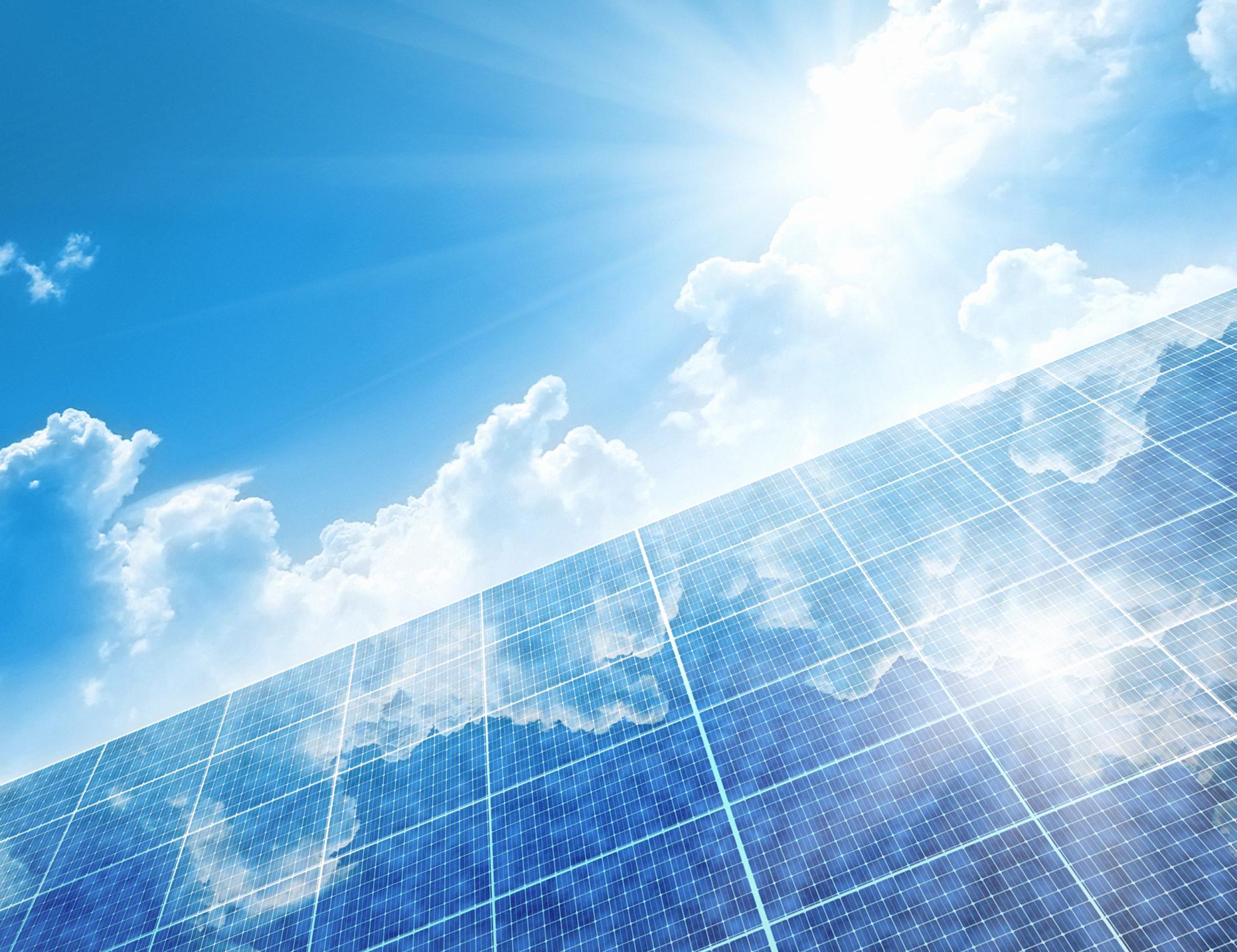 Solar panels and sunshine