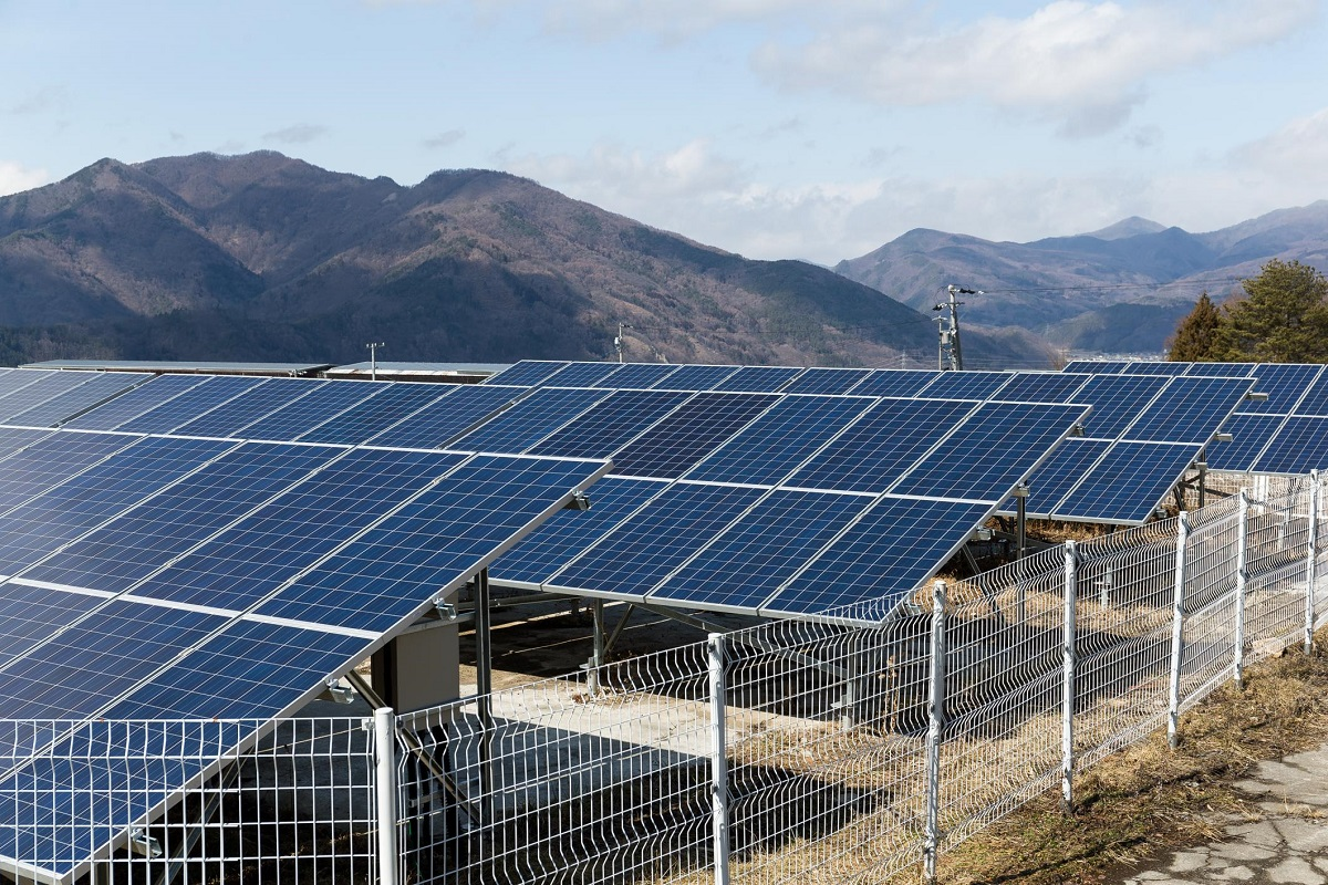 solar panels and mountains
