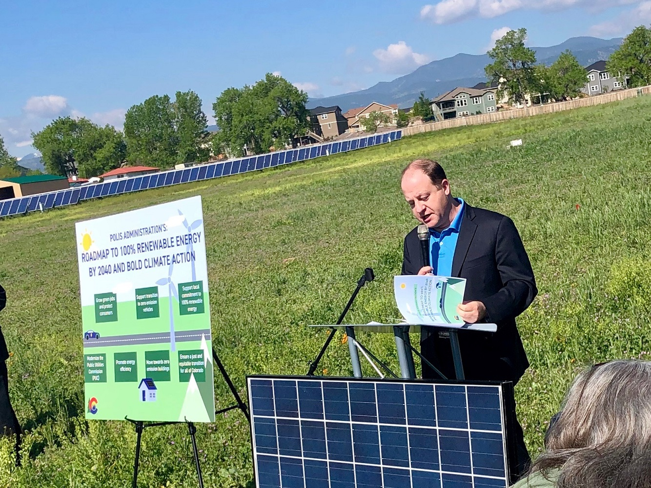 Man speaking about solar panels