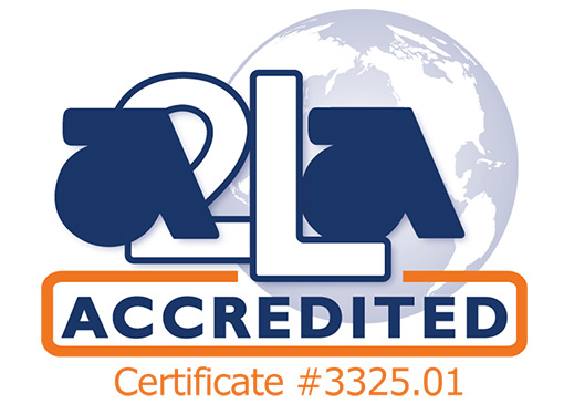 The logo of American Association for Laboratory Accreditation, certificate number 3325.01
