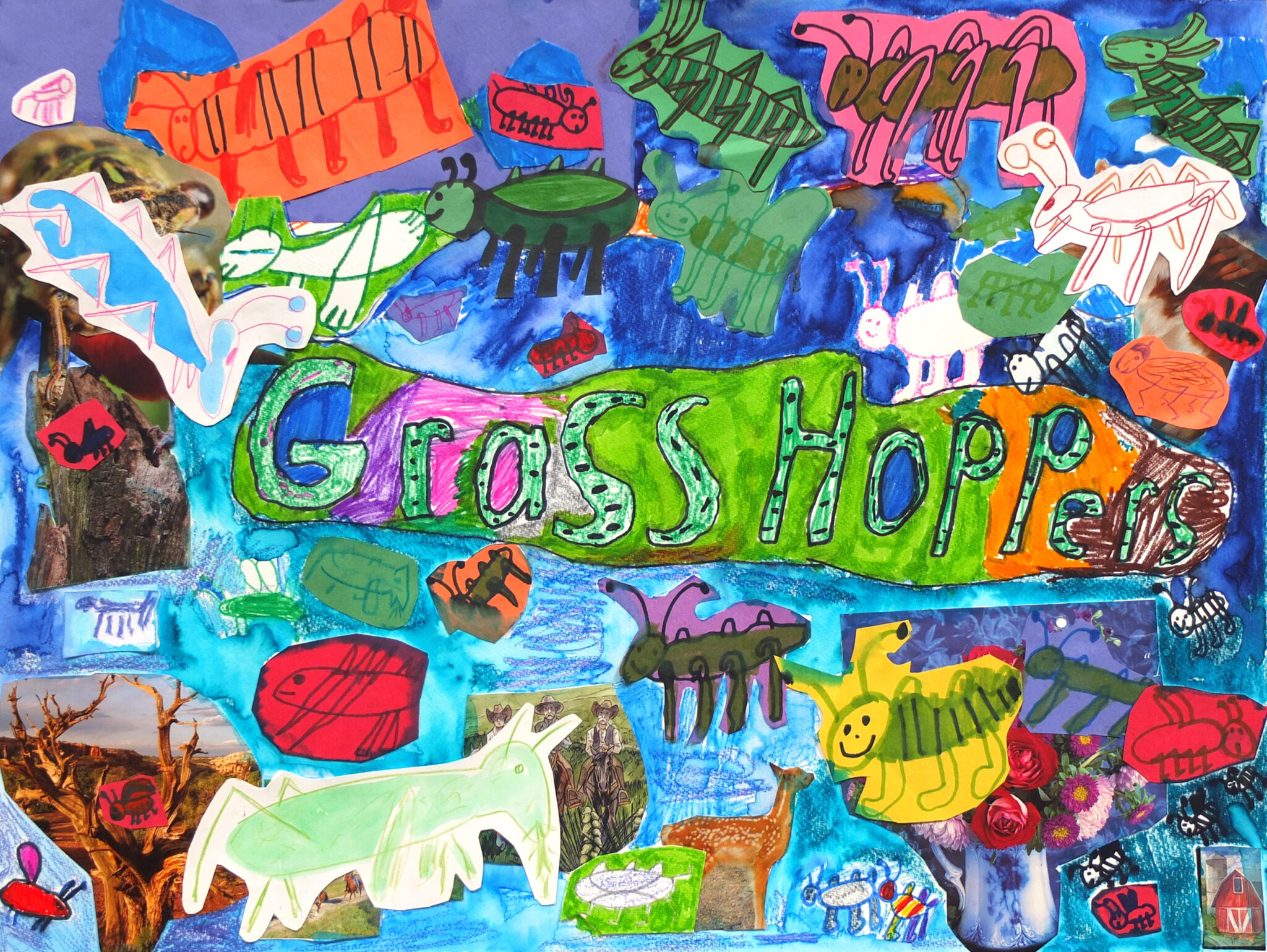 Childlike colorful drawing of bugs with the word 'Grasshopper'
