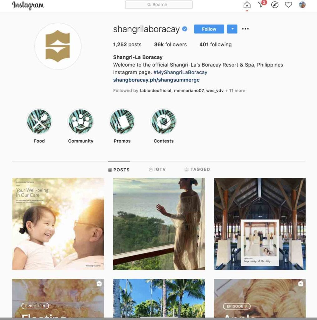 top hotels to follow on Instagram Shangrila Boracay