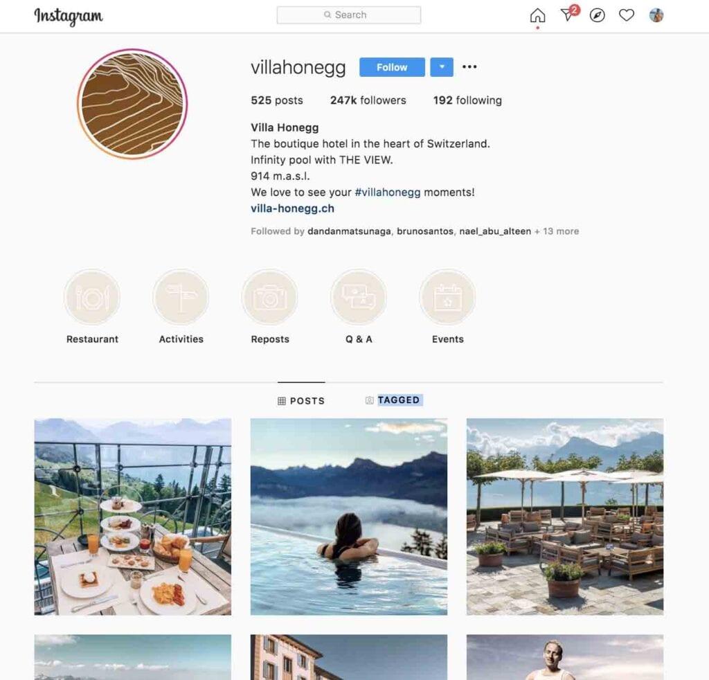 Villa Honegg top hotels to follow on Instagram