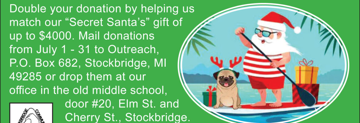 Stockbridge Christmas 2020 Christmas in July Matching Grant Fundraiser at Outreach