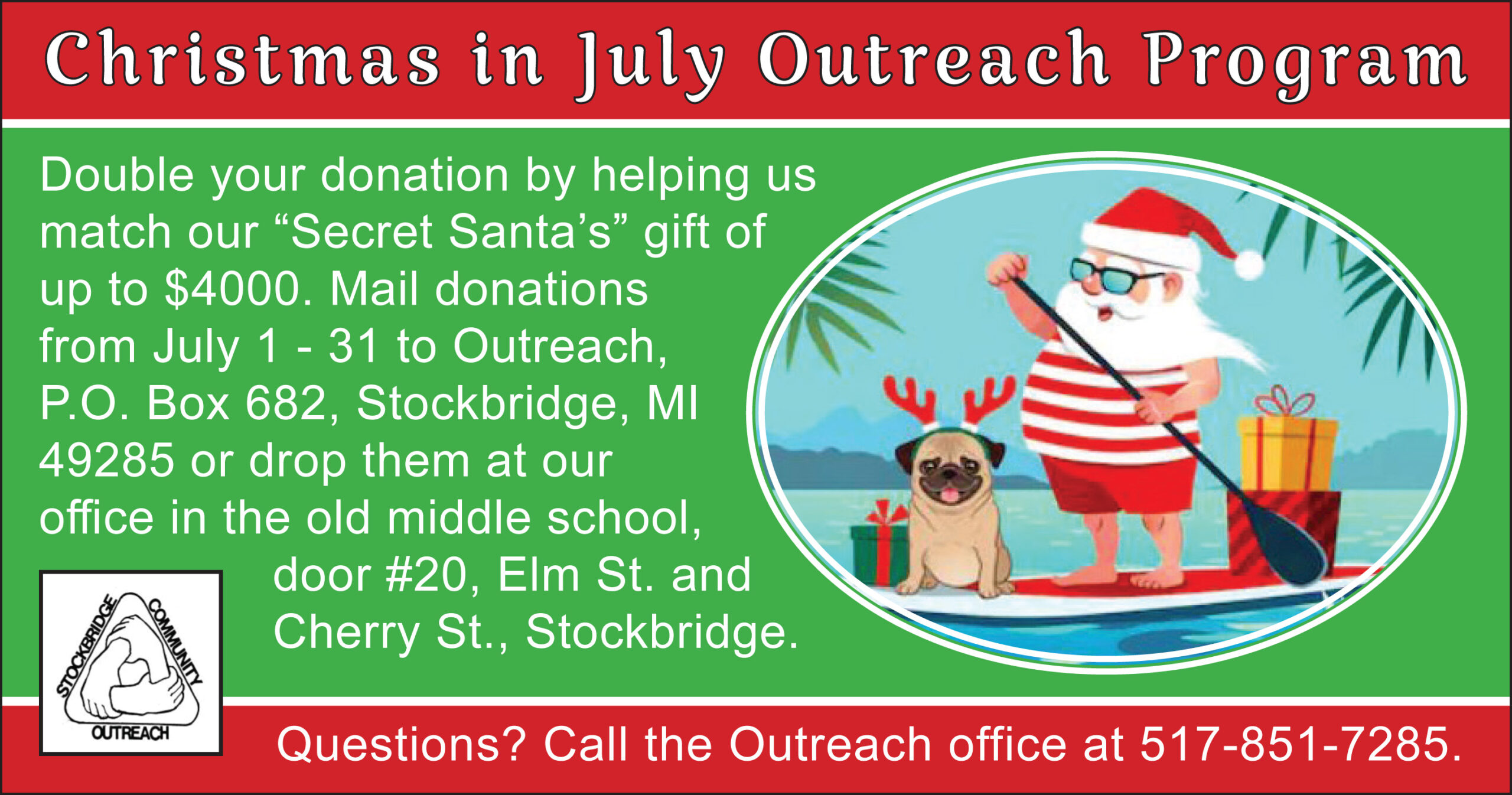 s Christmas In July 2020 Christmas in July Matching Grant Fundraiser at Outreach