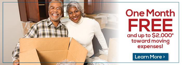 One Month Free and up to $2,000 toward moving expenses!