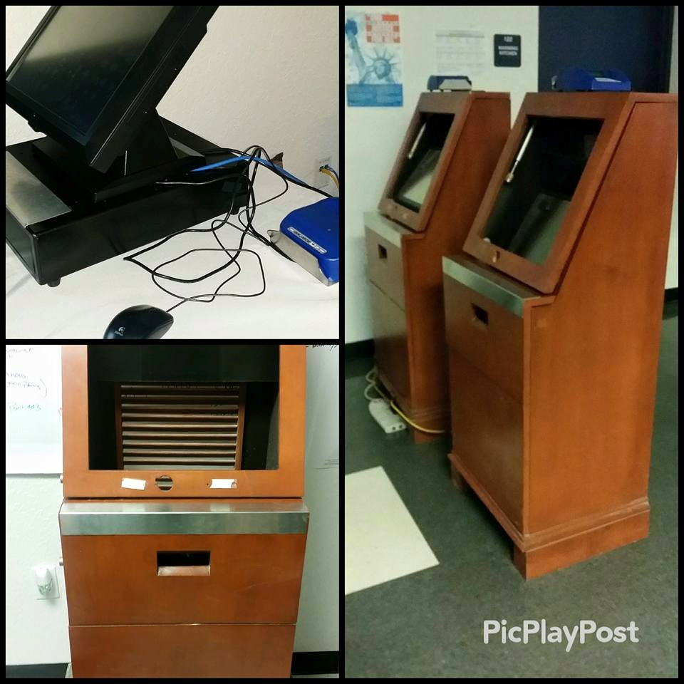 Used Kiosks from Walt Disney World repurposed in the school cafeteria