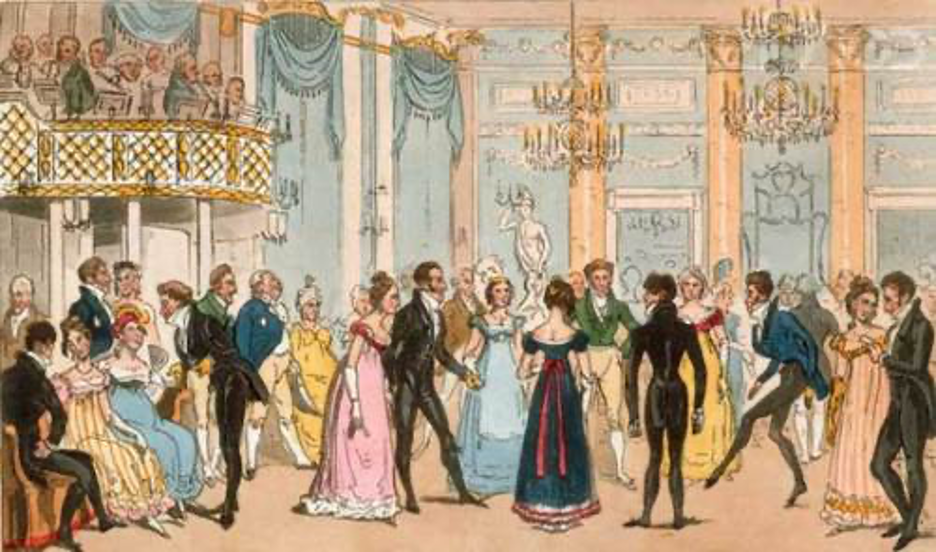 A group of people around each other-a Time Travel Regency  Description automatically generated
