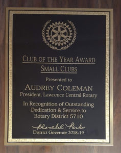 Lawrence Central Rotary named District 5710 Small Club of the Year!