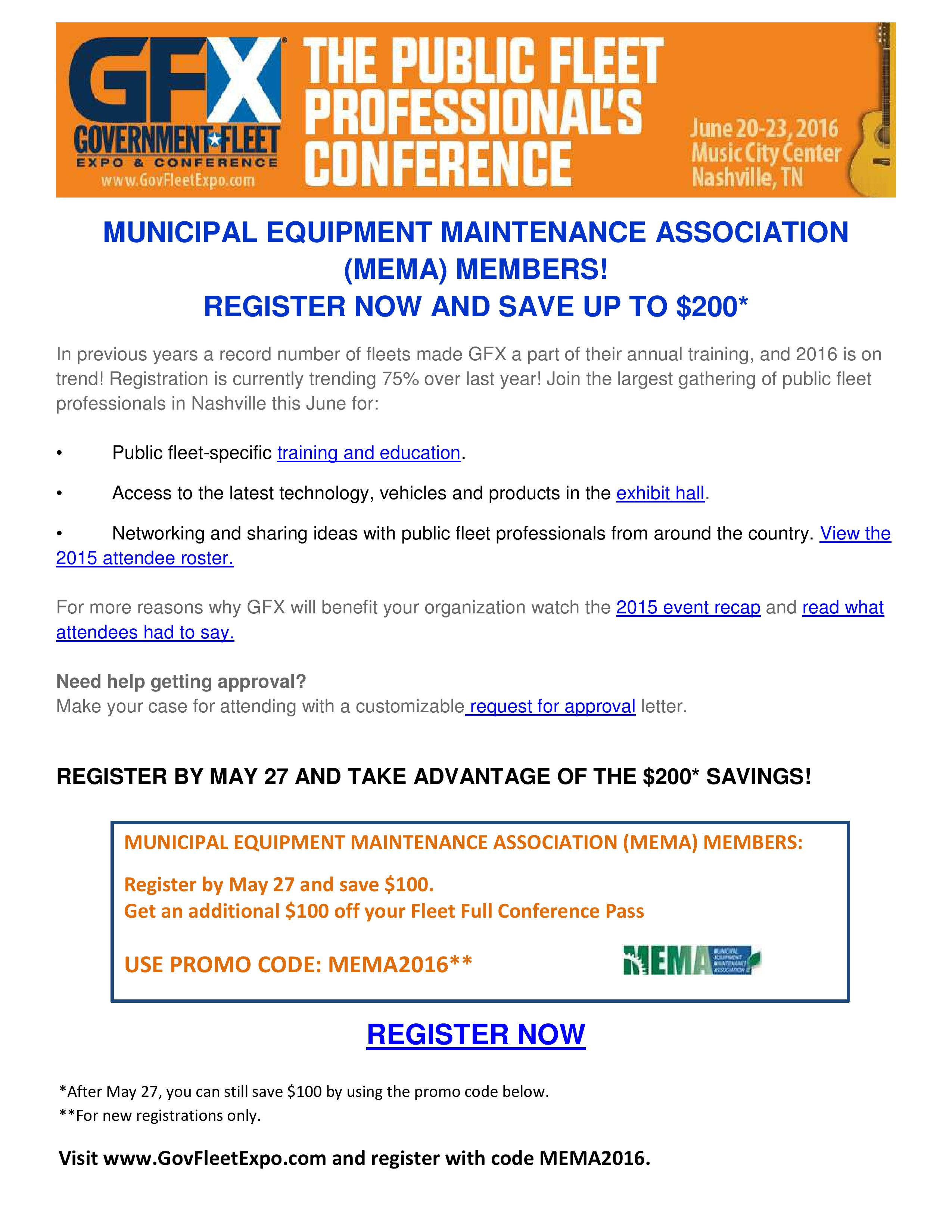 MEMA MEMBERS REGISTER NOW AND SAVE UP TO $200*