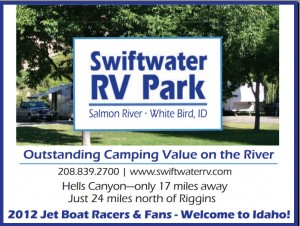 Swiftwater RV Park ad Welcomes Jet Boat Racers and Fans