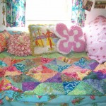 Colorful pillows in vintage trailer at Swiftwater RV Park on the Salmon River in Idaho