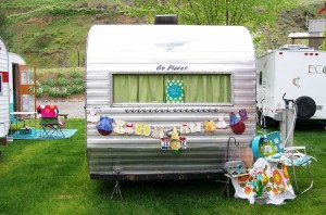 Decorated vintage trailer at Swiftwater RV Park