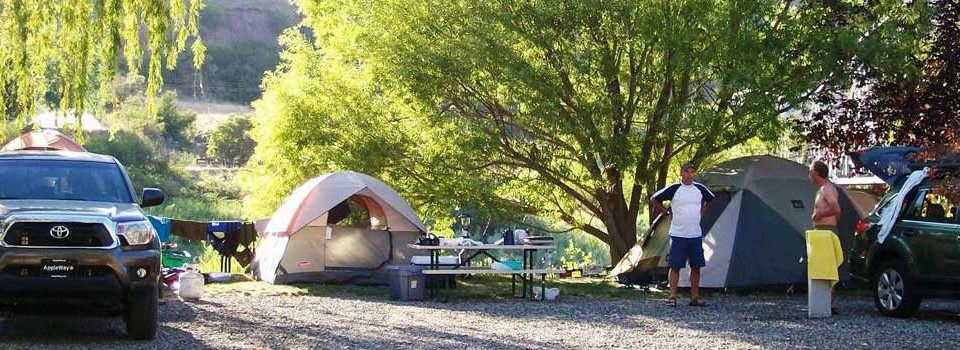 Tent campers enjoy endless views of the Salmon River at Swiftwater RV Park.